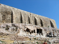 The acropolis wall and Panagia Hrysospiliotissa (as seen from the Theatre of Dionysos)