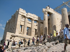 Everyone visiting the acropolis has to pass through the Beule Gate and the Propylaea