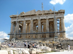 Built in 447 BC, the Parthenon is a temple dedicated to Greek goddess Athena. Unfortunately, renovations were taking place when we visited