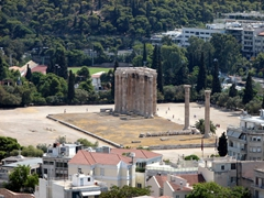 View of the Temple of Olympian Zeus from the Acropolis's flag tower