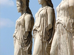View of the porch of the caryatids (these are replica plaster casts. The originals can be seen at the Acropolis's museum)