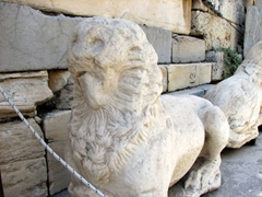 Remnants of a lion statue at the Beule Gate; Acropolis