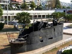 Classic warship on display at Zea Marina; Piraeus