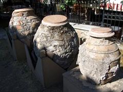 Ancient urns on display; Roman Agora