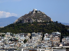 Mount Lykavittos, the tallest of Athens's seven surrounding hills, beckoned us to hike it for a panoramic view over the city