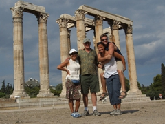 Ann, Bob, Becky and Robby strike a pose in front of the enormous Temple of Olympian Zeus