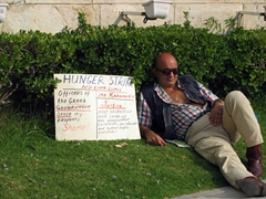 This man is on a hunger strike in front of the Parliament building due to government injustices
