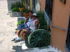 Chilling from walking up and down Athen's streets on a cute bench