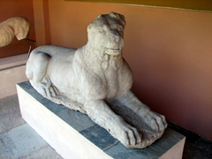 A partial lion on display at the Oberlaender museum; Kerameikos Tombs
