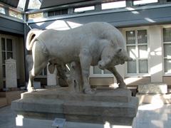 The marble bull from the tomb of Dionysios of Kollytos; Kerameikos