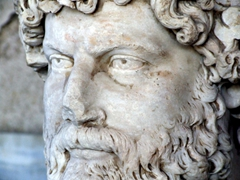 Intricate detail of a statue at the stoa of Attalos (now housed in the Ancient Agora museum)