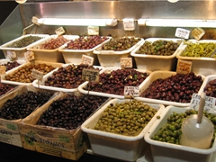 A massive selection of different olives; central market