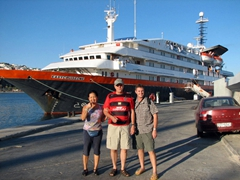 Ann, Bob, and Robby pose in front of our Easy Cruise vessel in Zea Marina harbor; Piraeus