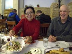 Ann and Bob enjoying our seafood dinner at the fabulous Ouzeri tou Terzaki restaurant; Heraklion