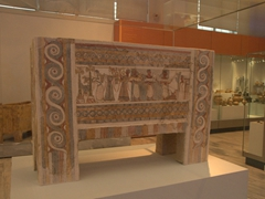 The Hagia Triada sarcophagus with a series of narrative scenes of Minoan funerary ritual orginally used for the burial of a prince