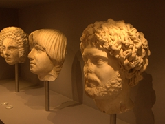 Marble portrait busts on display at Heraklion Archaeological Museum