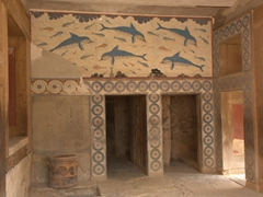 Dolphin frescoe at the Palace of Knossos