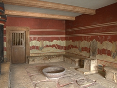 The Throne Room (built for ceremonial purposes); Knossos Palace
