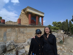 Ann & Becky in front of the Restored North Entrance (with charging bull fresco); Knossos Palace