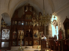 Interior view of the Venetian baroque church at Arkadi Monastery