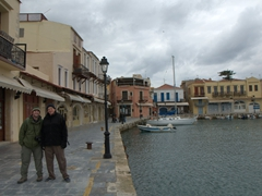 Robby & Bob pose in Rethymno's picturesque Venetian harbor