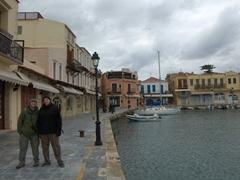 Robby & Bob pose in Rethymno's picturesque Venetian harbor