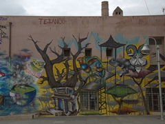 Colorful graffiti is an all too common sight in Rethymno