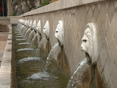 Spili's famous lion heads fountain
