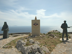 A monument commemorating the resistance of Preveli's monks against the German invaders of WWII