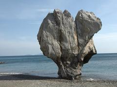 Imposing rock at Preveli Beach