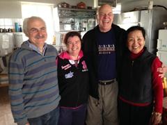 Enjoying our wonderful hosts at Zorbas Rooms, near Frangokastello