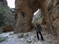 Becky at the giant arch of Imbros Gorge