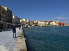 Becky checking out Chania's Venetian Harbor