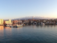 Panoramic of scenic Chania at sunset