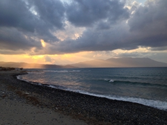 Sunset over Nopigia beach