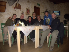 Group photo with Georgios, his wife and Jiannis at our favoritie Cretan restaurant, Maracaibo