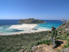 Robby hiking down to the magnificent Balos Beach