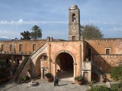 Bob & Ann at the main entrance to Agia Triada Monastery