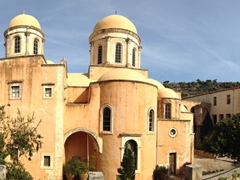Panoramic view of the pretty Agia Triada Monastery