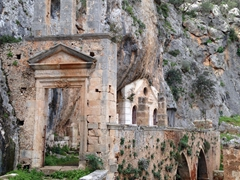 Our first glimpse of Katholiko Monastery (abandoned in the 16th century due to numerous pirate raids)