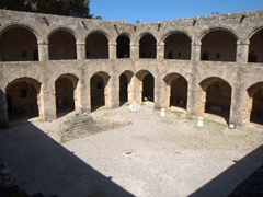 Inner courtyard of the Hospital of the Knights, which today functions as the city's Archeological Museum; Old Rhodes