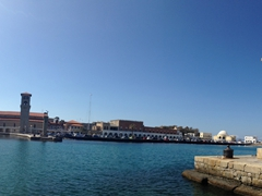 Entrance to Mandraki Harbor. One of the 7 wonders of the ancient world, the Colossus of Rhodes used to stradle the harbor