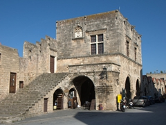 This 1597 Knights' building known as Castellania once served as the commercial center of Rhodes. Today, it houses the city's public library
