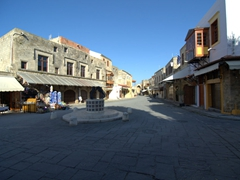 Once the cruise ship visitors depart for the day, the streets of Old Rhodes become empty once again