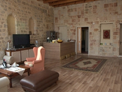 Common area of our Old Rhodes lodging, the excellent Evdokia Boutique Hotel