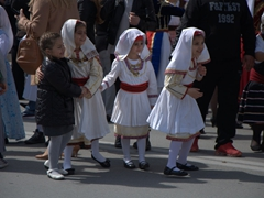 Excited girls prepare to march in the parade celebrating Greek Independence Day!