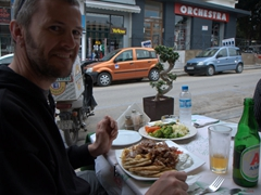 Robby enjoying his gyros plate at Augustinos