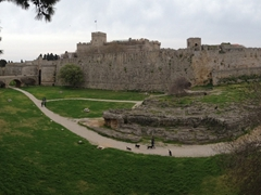 Beautiful panoramic views of Old Rhodes can be seen from walking the outer wall