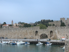 View of medieval Rhodes (as seen from the commercial harbor)