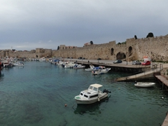 Panoramic view of Rhodes commercial harbor